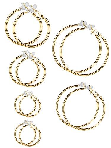 6 Paia Argento Cerchio Orecchini Clip On Non Piercing Orecchini Set per Donne e Ragazze, 6 Taglie (Colore Oro)
