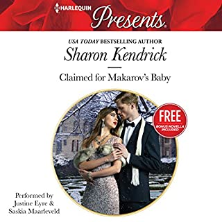 Claimed for Makarov's Baby     Christmas at the Castello              By:                                                                                                                                 Sharon Kendrick,                                                                                        Amanda Cinelli                               Narrated by:                                                                                                                                 Justine Eyre,                                                                                        Saskia Maarleveld                      Length: 5 hrs and 35 mins     5 ratings     Overall 4.8