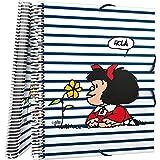 Grafoplás 39822413 - Carpeta de 30 Fundas Transparentes, Mecanismo Espiral, Modelo Mafalda Marinera, Cubiertas Polipropileno, A4