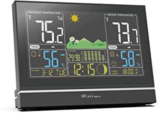 Wittime Latest 2076 Weather Station, Wireless Indoor Outdoor Thermometer, High Precision Temperature and Humidity, Weather Forecast and Barometer, Calendar with Moon Phase, 7.5-inch HD Large Screen