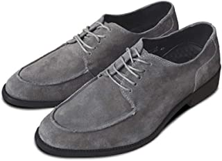 SHENTIANWEI Classic Oxfords for Men Loafers Lace up Suede Pointed Toe Flat Block Heel Solid Color Low Top Stitching Soft Wear-Resisting (Color : Grey, Size : 6 UK)