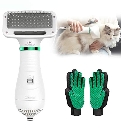 PETRIP Pet Hair Dryer for Dogs Cats with 2 Pack Pet Grooming Gloves Set-2 in 1 Grooming Dog Hair Blower Dryer-Dog Hair Brush for Small Dog and Cat