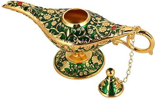 Lampara de Aladdin, retro metal cuento de hadas Aladdin elfo magico tetera lampara de aceite decoracion de la mesa del hogar (verde)
