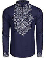 COOFANDY Men's Slim Fit Hippie Shirt Long Sleeve Floral Print Casual Zip Up Cotton Beach Party Henley T Shirt Blue
