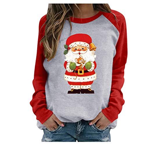 Santa Tops Jersey Navideño 3D Ugly Christmas Sweater Manga Larga Xmas Pullover Candy Printed Christmas Shirt Camiseta de Manga Larga