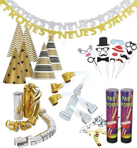 KarnevalsTeufel Party-Set für Silvester Dekoration & Accessoires in Gold & Silber Neujahr