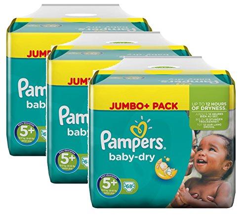 Pampers Baby Dry Größe 5+ Junior Plus 13-27kg Jumbo Plus Pack, 3er Pack (3 x 68 Windeln)