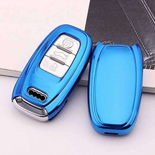 FGJIHB SchlüsseletuiHochwertige weiche TPU schlüsselanhänger schutzhülle für Audi a4l a5 a6 a6l q5 s5 s7 schützen Shell car Styling Abdeckung Fall, blau