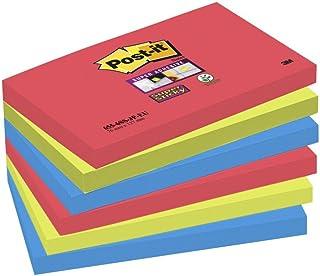 Post-it 76501 Foglietti Super Sticky, 90 Fogli, Confezione da 6 Blocchetti, 76 x 127 mm, Colori Bora Bora