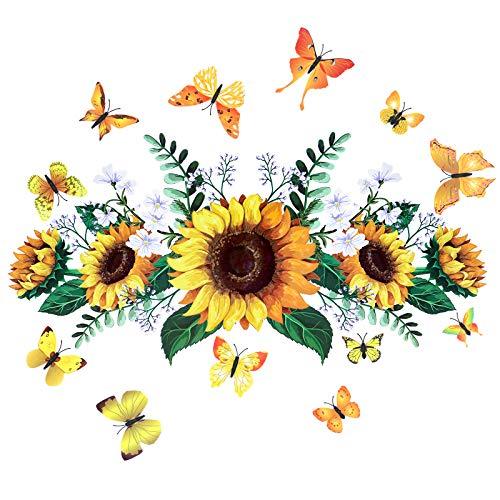2 Stück Sonnenblumen Wandtattoo Aufkleber, abnehmbare Sonne Zitate Wandaufkleber mit 24 Stück 3D Schmetterling Wandaufkleber für Home Nursery Decor (Stil 1)