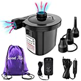 Electric Air Pump, 110V AC/12V DC Portable Air Mattress Pump Two-Way Universal Inflator Electric Pump for Inflatables...