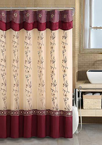 GoodGram VCNY Luxurious Daphne Embroidered Sheer & Taffeta Fabric Shower Curtains Assorted Colors (Burgundy)