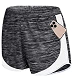 Zamowoty Womens Running Shorts, Elastic Straps Modesty Active Wear Shorts Girls Slim Fit Solid Color Cute Funny Workout Sports Yoga Boardshorts with Pocket Dark Grey L