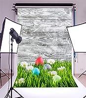 HD 5x7ft写真の背景イースター塗装卵鳥白い花芝生フィールド剥離木の板自然春写真背景背景写真ビデオパーティー子供写真スタジオ小道具
