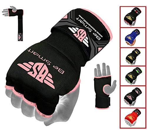 Be Smart Box-Handschuhe, Gel gepolstert, Innenhand-Wickel, MMA, UFC, Herren damen Kinder, schwarz / rosa, M
