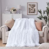 NexHome Soft Shaggy Faux Fur Blanket Throw Blanket 50' x 60', Fluffy Cozy Soft Microfiber Long Faux Fur Decorative Blankets for Sofa Couch Bed Chair Photo Props, Pure White