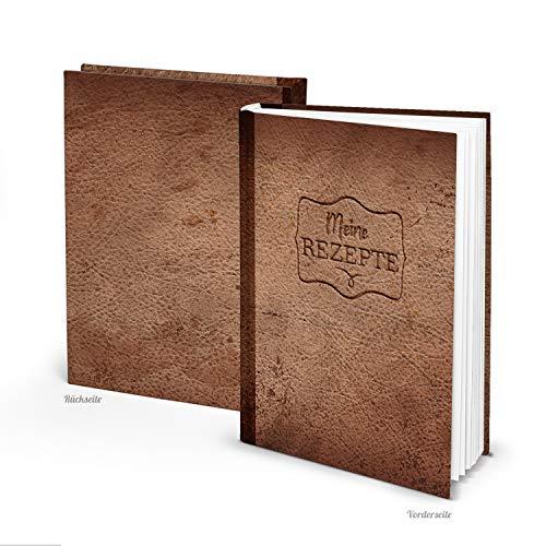 Logbuch-Verlag leeres Rezeptbuch DIN A5 MEINE REZEPTE braun in Lederoptik - Vintage Kochbuch Blankobuch zum Selberschreiben - Geschenkbuch Notizbuch Küche