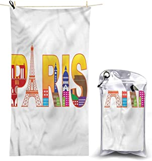 Ahuimin Microfiber Beach Towels, Paris,France Skyline Cultural Icons, 55 x 27.5 Inches Super Absorbent Lightweight Microfiber Bath Towels for Travel Pool Gym