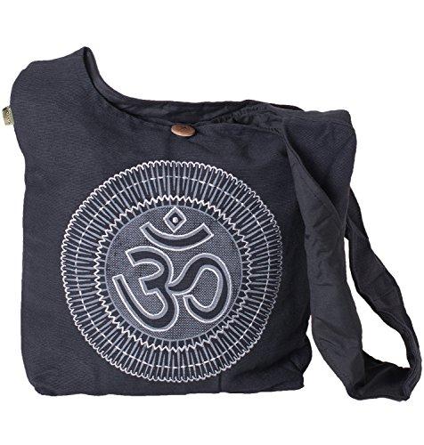 Vishes - Yogi Beuteltasche aus Baumwolle mit aufgesticktem Om Zeichen schwarz