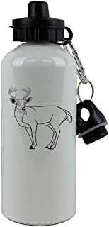 Personalized Custom Deer Aluminum White Finish 20 Ounce 600ML Sport Water Bottle Customizable