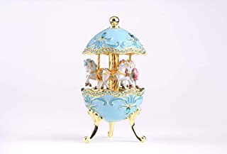 Keren Kopal Teal Wind up Musical Carousel with Royal White Horses Music Box Faberge Style for Collectors