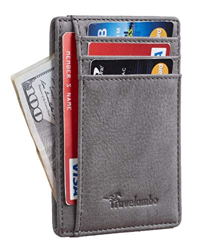 Travelambo Front Pocket Minimalist Leather Slim Wallet RFID Blocking Medium Size (OD Grey Steel)