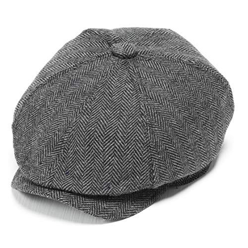 Coucoland Schirmmütze Newsboy Flat Cap Gatsby Barett Cap Herren Schiebermütze Baskenmütze 1920s Stil Herren Gatsby Kostüm Accessoires (Grau, M)