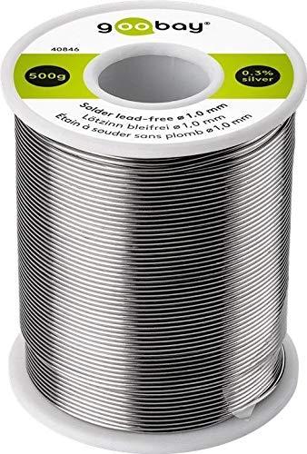 Goobay 40846 Lötzinn bleifrei; ø 1, 0 mm, 500 g Markenlötzinn mit einem Silberanteil (Ag) von 0, 3%