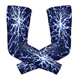 Arm Sleeves, UV Protection Sleeves, Cooling Compression Sleevesfor Outdoor Sports, Tattoo Cover Sleeves, Blue Electricity Magic Lightning