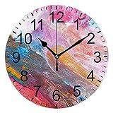 XiangHeFu Reloj de Pared Redondo de 10 Pulgadas, Fibra óptica, Puntos de luz, hogar, Oficina, Escuela, sin tictac, Decorativo