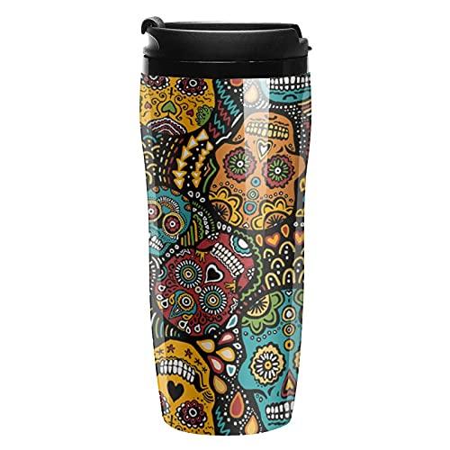 Botella de agua con diseño de calaveras mexicanas de azúcar 1 tazas de café con tapa