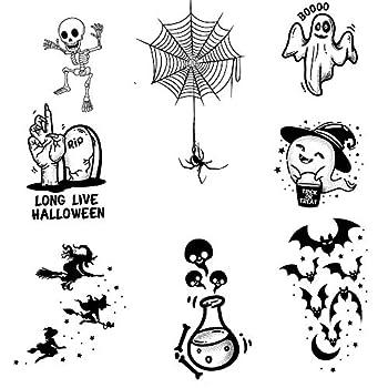 Kids Halloween Temporary Tattoo Children Boys Girls Cats Pumpkins Skulls Bats Crosses Spiders Zombies Spooky Ghosts Diamond Realistic cosplay fancy dress party