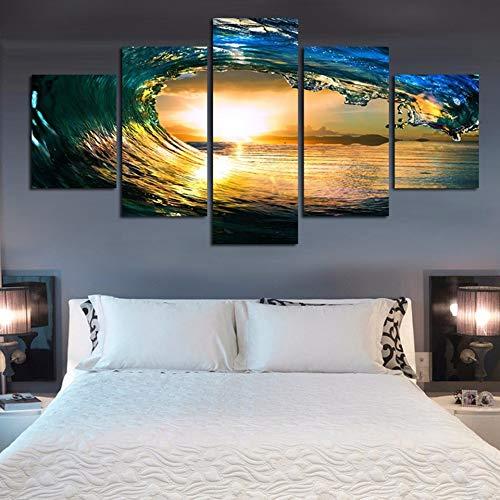 Marco Moderno Abstracto Wall Art Pictures Modular 5 Panel de Campo de fútbol para Sala de Estar Decoración del hogar En la Pintura de la Lona 8 40x60 40x80 40x100cm
