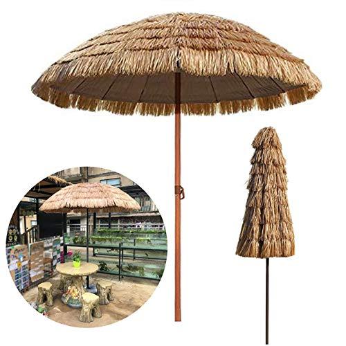 Naturelle Parasol De Jardin Diamètre 1.6m Paille Style Hawaïen Pare Soleil Peut pour Le De Table De Patio De Plage Hula Parapluie en Raphia