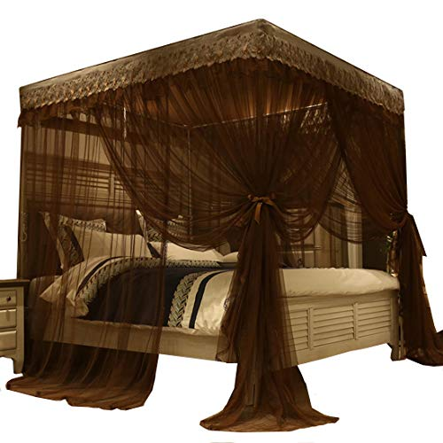 Mengersi Princess 4 Corners Post Bed Canopy Bed Curtains Mosquito Netting (Queen, Coffee)