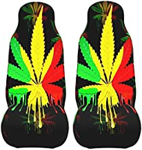 PEKIVIDE Car Seat Covers 2 Pack, Marijuana Leaf Rasta Colors Dripping Paint Cushion Front Protectors Universal Fits for Most Cars Trucks Vans SUV
