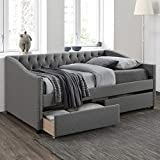 Harper & Bright Designs Twin Bed with Drawers, Upholstered Daybed with Storage Drawers, Wood Daybed Twin Size, No Box Spring Needed, Grey