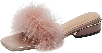 Platform Shoes for Women,Women's Ladies Summer Flat Faus Fur Brushy Slippers Slip-On Sandals Roman Shoes Slippers UK Size 4-8.5