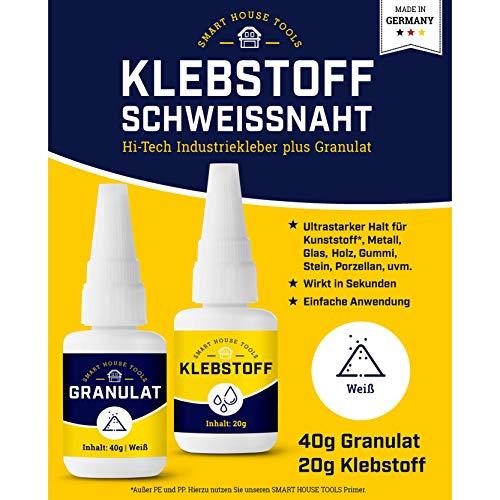 KLEBSTOFF SCHWEISSNAHT - 2K Schweißnaht Kleber Reparatur Set zum Kleben von Kunststoff, Plastik, Metall, Holz, u.v.m. - extra stark - 2 Komponenten - Industriekleber plus Granulat, Weiss