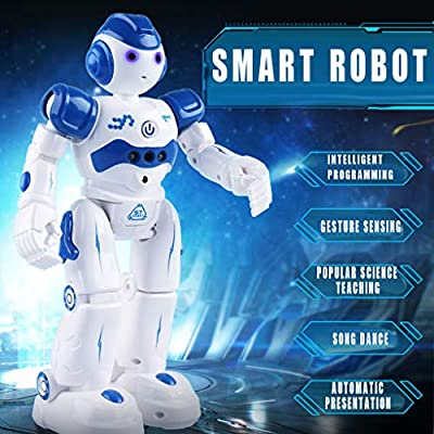 Tuscom Intelligent Robot with Mini Airplane Toy Smart Remote Control Robot Hearing Speaking Speech Recognition Dialogue Rc Toy Gift for Kids
