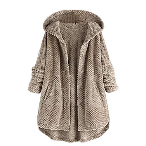 Aotoer Otoño Invierno Manga Larga Sudaderas Sudadera para Mujeres Niñas Reversible Fleece Suéter Plus Tamaño Suelto Blusa Sudadera con Bolsillo
