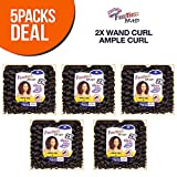 MULTI PACK DEALS! FreeTress Synthetic Hair Crochet Braids 2X Wand Curl Ample Curl (5-PACK, 1B)