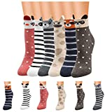 PPangUDing 6er Pack Unisex Stricksocken Bootssocken Kreative Kuschel Anti-Rutsch Cartoon Tier Gemusterte Printed Haussocken Schlafsocken Sportsocken Baumwollsocken für Herbst Winter