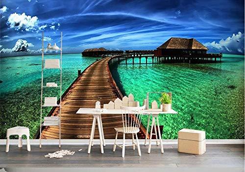 3D Fototapete Strand Surf Wohnzimmer Schlafzimmer Sofa Tv Hintergrund Wanddekoration Wandbild 350 cm (B) X 256 cm (H)