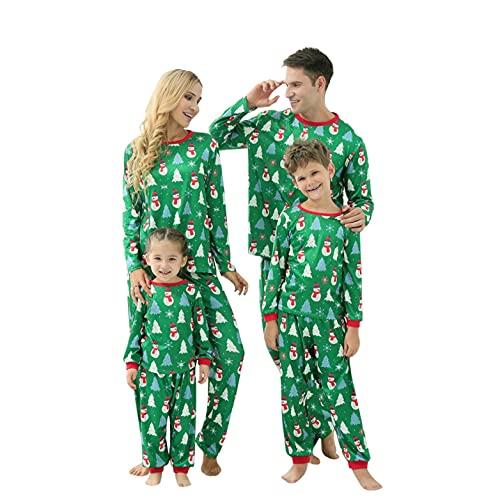 Alueeu Pijamas de Navidad Familia Conjunto Mujer Hombre Niños Bebé Invierno Otoño Top+Pantalones Camisetas De Manga Larga Sudadera Chándal Casual Homewear