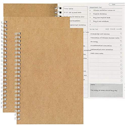 Cuaderno de notas con planificador diario manual para gestionar el tiempo, hacer listas y mejorar tus objetivos - 100 páginas/50 hojas - 190 x 130 mm (2 unidades)