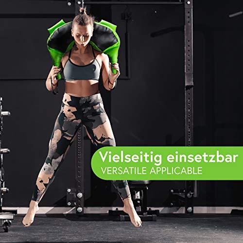 POWRX Bulgarien Gewichts Bag I 5 kg 8 kg 12 kg 17 kg 22 kg I Kunstleder Sandsack für Functional Fitness (12 kg Schwarz/Hellgrün) - 7