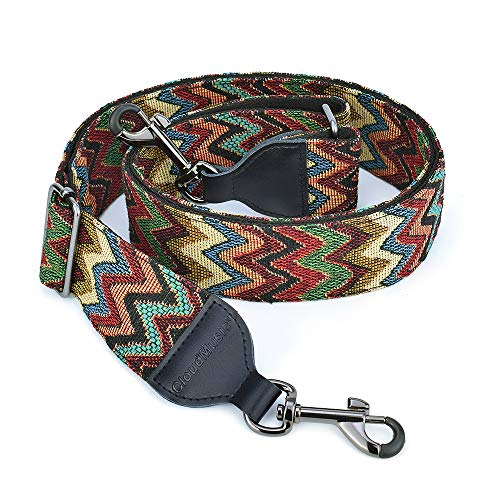 CLOUDMUSIC Banjo Strap Jacquard Woven With Leather Ends Gunmetal Clips(Coloful Waves)