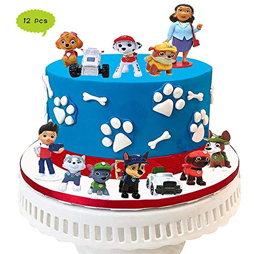 Paw Patrol Mini Figuren,12er Set, Geburtstags Party liefert Cupcake Figuren, Cake Topper, Party Kuchen Dekoration Lieferungen