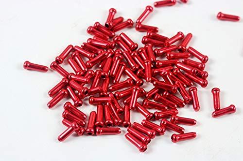 Z&S 50 Stück Aluminium-Legierung Fahrrad Kabel Endkappen Fahrrad Bremse Umwerfer Schalthebel Gehäuse Kabel Endkappen Crimps für die meisten Fahrräder, MTB, Mountainbike, Rennräder, rot